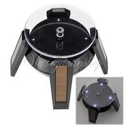 Jewelry Rotate Display Canada - Free Shipping LED Solar Powered 360 Degree Rotate Rotary Turntable Turn Table Display Stand Phone Jewelry Charging By Sunlight,dandys