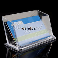 Wholesale Desktop Business - 2pcs Lot Clear Acrylic Business Card Holder Desktop Stationery Note Display Box Case Stands Shelf Landscape ID Credit Card,dandys