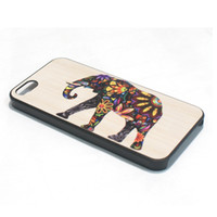 Wholesale 5c Cover Wood - S5Q Elephant on Wood Design For iPhone 5C Case Back Cover AAACXA