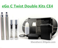 Wholesale Ego C Twist Double - eGo C Twist Double Kits CE4 Atomizer 650 900 1100mah ego-c twist Battery for E Cigarette E Cig Dual Kits in case All Colors Available YA0212