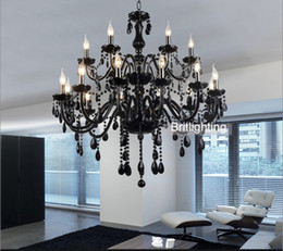 Wholesale Black Iron Crystal Chandelier - Black Murano Glass Crystal Chandelier Light modern black chandeliers restaurant chandelier glass Candle chandeliers crystal ball chandelier