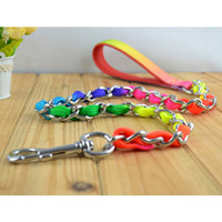 Wholesale Nylon Tracks - S5Q Pet Puppy Dog Rainbow Metal Leash Lead Rope For Dogs Outdoor Walking Tracking AAACXL
