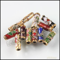 Wholesale Chinese Cloisonne - 150pcs lot 9mm Colorful Flower Tube Cloisonne Enamel Beads Chinese Cloisonne Beads 110764