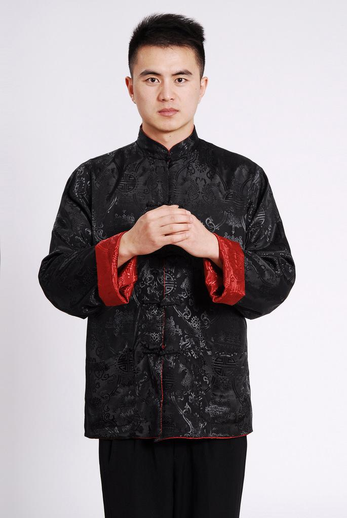 Shanghai Story Chinese Jacket Long Sleeve Chinese Traditional ethnic clothing Two-sided wear tang suit mandarin collar reversible Jacket men