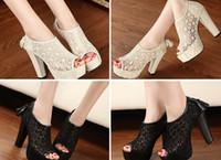 Wholesale Straw High Heeled Pumps - Lace Hollow out Womens Shoes Tassel Zip High Heels Peep toe Pump Sanda