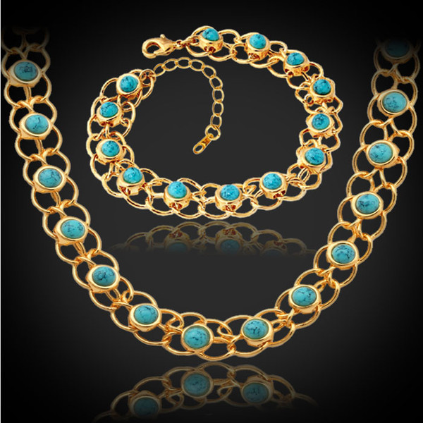 Beautiful Turquoise Turkey Stone Bracelet Necklace 18K Real Gold Plated Fashion Jewelry Set Romantic Gift For Women MGC NH5139