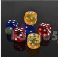 Wholesale Transparent Dice Wholesale - Top Transparent Poker Chips dice 14mm Six Sided Spot Fun Games game Dice D & D RPG Games Party Dice Game Dices