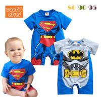 Wholesale Kids Clothes Size 95 - Boys superman batman short sleeve Jumpsuits Baby Climb clothes Kids Rompers Baby Romper 80 90 95 size 3pcs lot TX380