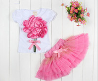 Wholesale Kids Tshirt Cotton Girl - GXR Baby Clothing Summer Short Sleeve 3D Flower Tshirt + Tutu Skirt 2pcs Baby's Girl Suit 2-5Year Kids Set Toddler Wear GX149