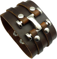 Fashion jewelry trend leather biker bracelet for cool men, le...