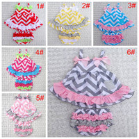 Wholesale Ruffle Bloomer Dress Sets - baby girls Chevron sets girl dress + lace pants shorts suit infant romper children outfits dress kids ruffled bloomers 39colors 6sets lot