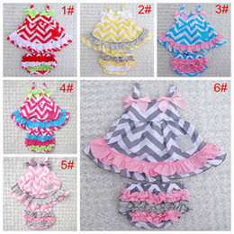 Wholesale Lace Shorts Romper - baby girls Chevron sets girl dress + lace pants shorts suit infant romper children outfits dress kids ruffled bloomers 39colors 6sets lot