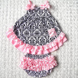 Wholesale Infants Girls - baby chevron sets girls strapless swing dresses + ruffle lace bloomers shorts kids boutique outfits children summer clothes infant leopard s