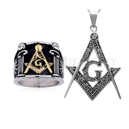 Chinese  Teboer Jewelry Square G & Pillars & Sunshine Masonic Ring and Freemason Amulet Pendant with Chain RP0520650 manufacturers