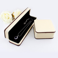 Wholesale Package Long Necklace - New Design Items Hot Selling Beige Color Pu Leather Graceful Long Necklace Jewelry Box Gift Package