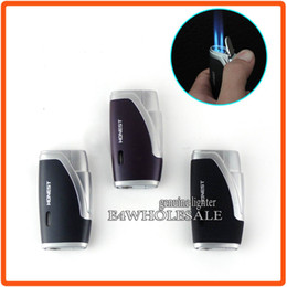 Wholesale Double Jet - Honest Butane Gas Cigarette Metal Lighter Jet Double Blue Flame With Cigar Punch