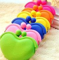 Wholesale Heart Shaped Coin Purse - New heart shape rubber coin purse pochi wallet silicone candy color wallet bag coin holder 200PCS FEDEX free