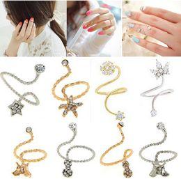 Wholesale Starfish Jewelry Sets - Wholesale 48X New Fashion Korean Rhinestone Starfish Butterfly Flower Spiral Opening Midi Finger nail Rings Jewelry