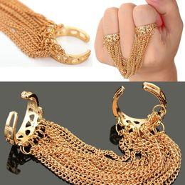 $enCountryForm.capitalKeyWord Australia - HOT PUNK Gothic Tassels Link Multi Chain Gold Tone Opened Double Finger Rings