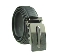Wholesale metals sales online - Fashion Mens Silver Buckle Belt Genuine Leather Black Waistband belt on sale