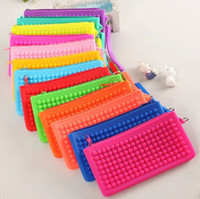 Wholesale Wholesalers Silicon Purses - 50PCS Candy color silicone wallets zipper women silicon purse dot coin bag girls storage bag key wallet DHL free shipping