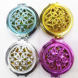 Wholesale Small Beauty Mirror - Stainless Engraving flower compact mirror colorful makeup carriable small beauty mirror Girls cosmetic pocket compact V7402