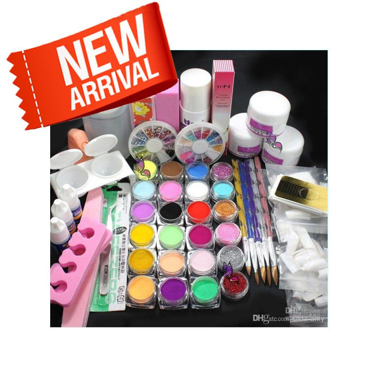 Pro Full Acrylic Glitter Powder Glue French Nail Art 500 Tip Brush ...