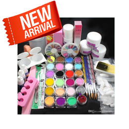 Wholesale Full Tips - Pro Full Acrylic Glitter Powder Glue French Nail Art 500 Tip Brush Kit Set #689