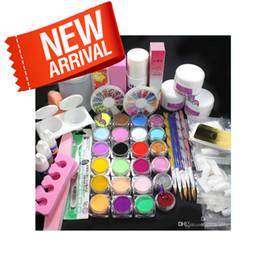 Wholesale Nail Art Tips Kit Set - Pro Full Acrylic Glitter Powder Glue French Nail Art 500 Tip Brush Kit Set #689