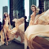 Wholesale Elie Saab Anja Rubik - 2017 New Arrival Elie Saab Anja Rubik Dresses Evening Gown With Champagne Chiffon Ruffled High Side Slit Prom Celebrity Gowns EM01468