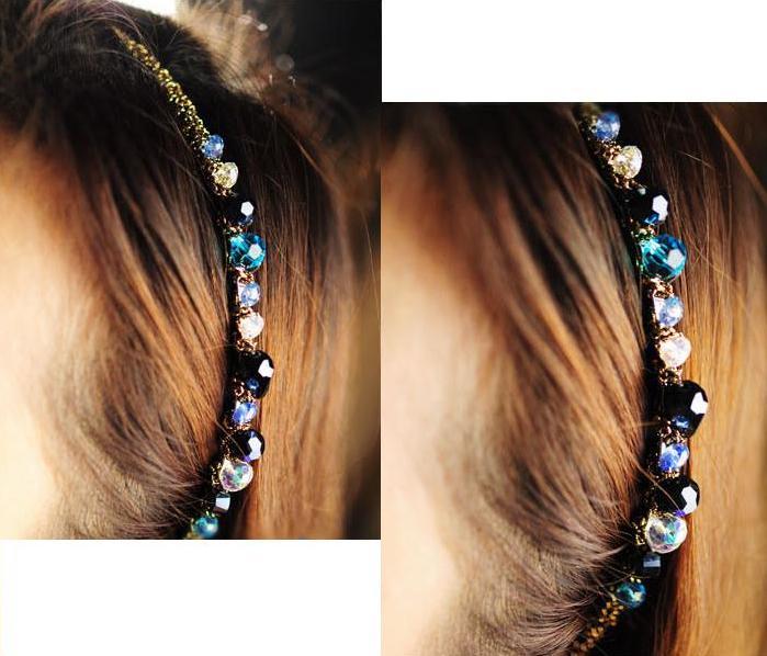 Gratis frakt Kvinnor Crystal Hair Band Hair Clip Hårslinga Färgglada Noble Crystal Headband Hairpin Smycken Mode Hårtillbehör