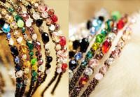 ingrosso ornamenti di cristalli-Delle Donne di modo di Cristallo cerchietto Diadema accessori per capelli clip di capelli di Cristallo Ornamento Capelli Hoop Ornamenti per Capelli Fasce per capelli di Colore della Miscela