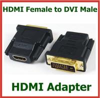 câble étendu hdmi achat en gros de-2pcs HDMI femelle vers adaptateur mâle DVI HDMI Etendre le connecteur du convertisseur de câble