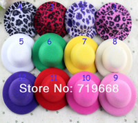 Wholesale Mini Felt Hat - CUTE MINI HAT New Arrival in Stock!50pcs lot 12colors 8CM Felt Mini Top Hat Fascinator base Women party Hat DIY accessories