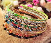 Wholesale Bands Noble - Free Shipping Women Crystal hair band hair clip hair loop Colorful Noble crystal Headband Hairpin jewelry Fashion Hair Accessories