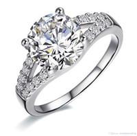anéis de noivado venda por atacado-Venda por atacado - 2Ct SONA anel de diamante sintético para as mulheres bandas de casamento anel de noivado de prata banhado a ouro branco linda promessa Prong definição