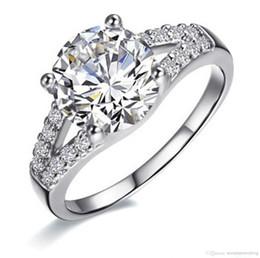 Venda por atacado - 2Ct SONA anel de diamante sintético para as mulheres bandas de casamento anel de noivado de prata banhado a ouro branco linda promessa Prong definição