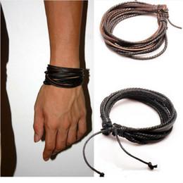 ювелирные изделия браслета способа кожаные Скидка Мужчины браслеты Wrap многослойные натуральная кожа черный и коричневый плетеный Канат браслет для мужчин и женщин подвески мода человек ювелирные изделия