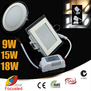 Wholesale ceiling round glass lamp resale online - Glass Surface W W W LED Panel Light SMD5730 Downlights Round Square Fixture Ceiling Down Lights Lamps Power Supply Dimmable Non V