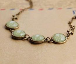 Wholesale Gem Stars - Green Tone White Polka Dot Bracelets Antique Gem Chain Bracelets Bronze Star sl004