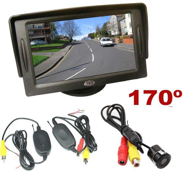 """무선 자동차 뒤보기 장비 HD 반전 백업 주차 카메라 170 ° + 4.3 """"LCD TFT 스크린 모니터"""