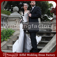 Wholesale Satin Sweetheart Wedding Fitted - Unique Gothic Wedding Dresses Mermaid Sweetheart Black and White Lace Appliques Tulle Satin Bridal Gowns Custom Made Fitted Gowns Beading
