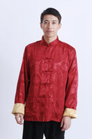 Wholesale Ethnic Wear Clothing - Shanghai Story Long Sleeve Chinese Traditional ethnic clothing Red Gold Two-sides wear tang suit mandarin collar jacket M1044