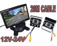monitor de camara retrovisor 24v al por mayor-12V-24V Kit de visión trasera del coche 2x Cámara de visión nocturna de estacionamiento con respaldo de marcha atrás + Monitor LCD de 7