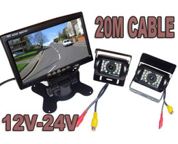 "Wholesale Video Monitor Car - 12V-24V Car Rear View Kit 2x Reversing Backup Parking Night vision Camera + 7"" LCD Monitor for Bus Truck 20m video cable)"