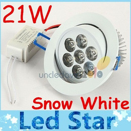 Wholesale High Powered Spot Lights - CE ROHS + 21W Led Dimmable Indoor Downlights Lamp High Power Warm Natural Cool White Led Spot Ceiling Light AC 110-240V + Driver Free Ship