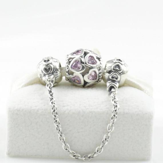 100% S925 Gümüş Takılar ve Emniyet Zinciri Seti Avrupa Pandora Takı Bilezikler Kolye Kolye Uyar