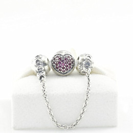 S925 Sterling Silver Pave Hear Charms e set di catene di sicurezza per gioielli europei Pandora Bracciali collane pendenti