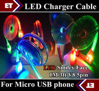 Wholesale Led Usb Smile Charger Cord - 10pcs Colorful LED Visible Micro USB V8 Charger Cable for Samsung Galaxy S3 S4 Note 2 3 Data Smile Light Up Flash Flowing 1M Flat Cords JB5