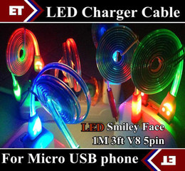 Wholesale Galaxy Note Led Charger - 10pcs Colorful LED Visible Micro USB V8 Charger Cable for Samsung Galaxy S3 S4 Note 2 3 Data Smile Light Up Flash Flowing 1M Flat Cords JB5